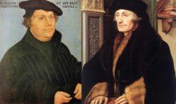 Lucas Cranach the Elder: Martin Luther, circa 1532; Hans Holbein the Younger: Portrait of Erasmus, 1523