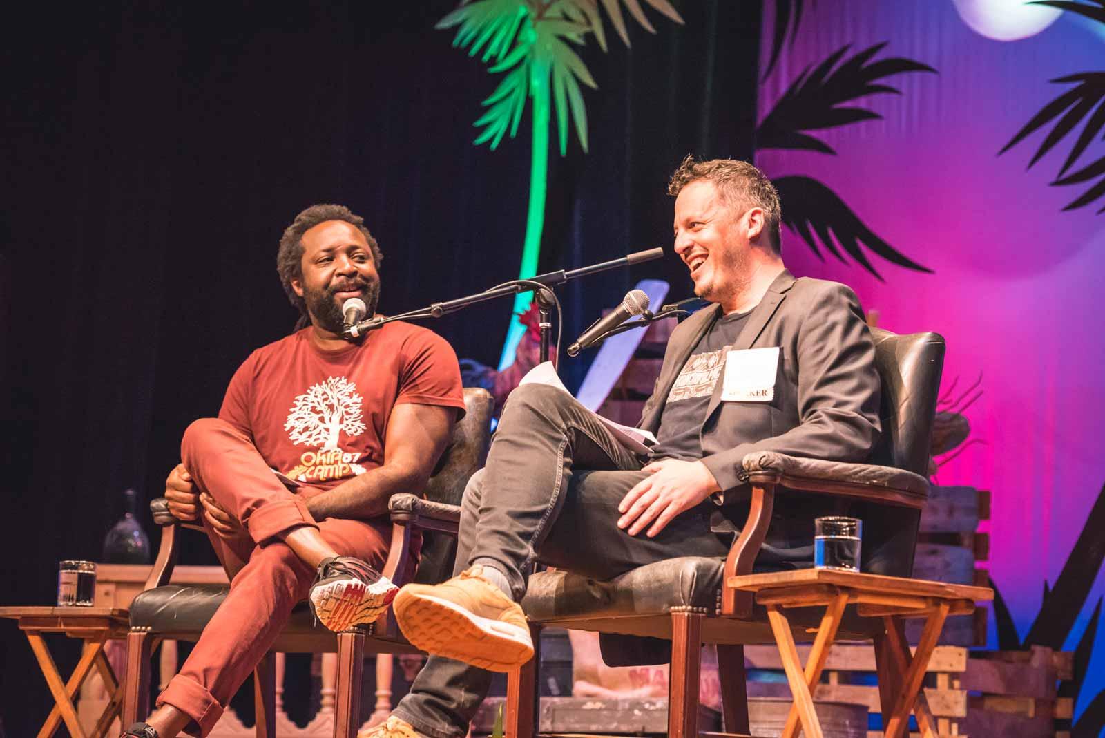 Marlon James and Joshua Jelly-Schapiro at the 2018 Key West Literary Seminar: