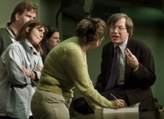 Law professor Erwin Chemerinsky with students during a bar exam review course, Los Angeles, 2001