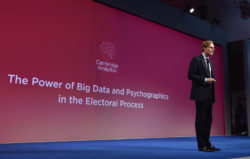 Alexander Nix, CEO of Cambridge Analytica, addressing the Concordia Summit in New York, September 19, 2016