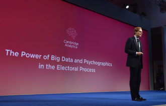 Alexander Nix, CEO of Cambridge Analytica, addressing the Concordia Summit in New York, September 19, 2016