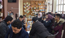Mosul residents meeting at the Book Forum café, January 6, 2018