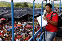MST activist Márcio Matos addressing a rally at a landless settlement in Bahia state, Brazil