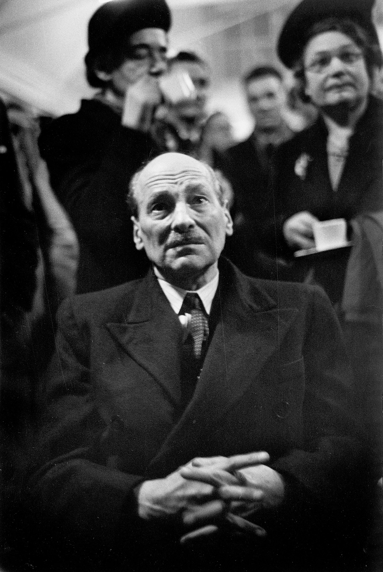British Prime Minister Clement Attlee watching election returns, 1950;  photograph by W. Eugene Smith