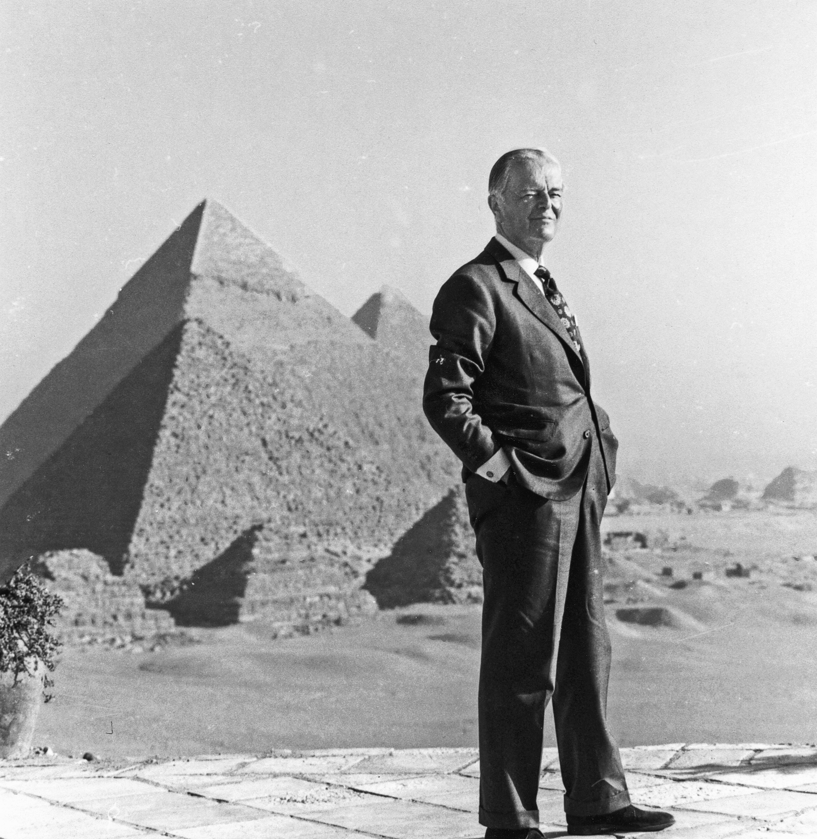 Kenneth Clark filming In the Beginning, his documentary about early Egyptian civilization, November 1974