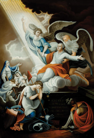 John James Barralet: Apotheosis of Washington, showing Lady Liberty and an Indian figure mourning as George Washington ascends to heaven, circa 1802