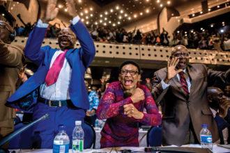 Zimbabwean members of parliament celebrating President Mugabe's resignation, Harare, November 21, 2017
