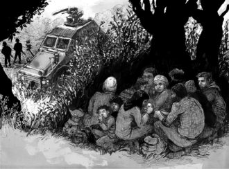Syrian refugees hiding from Turkish border guards near Afrin, northern Syria, June 2015; illustration from Marwan Hisham and Molly Crabapple's Brothers of the Gun