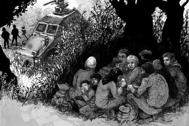 Syrian refugees hiding from Turkish border guards near Afrin, northern Syria, June 2015; illustration from Marwan Hisham and Molly Crabapple's <i>Brothers of the Gun</i>