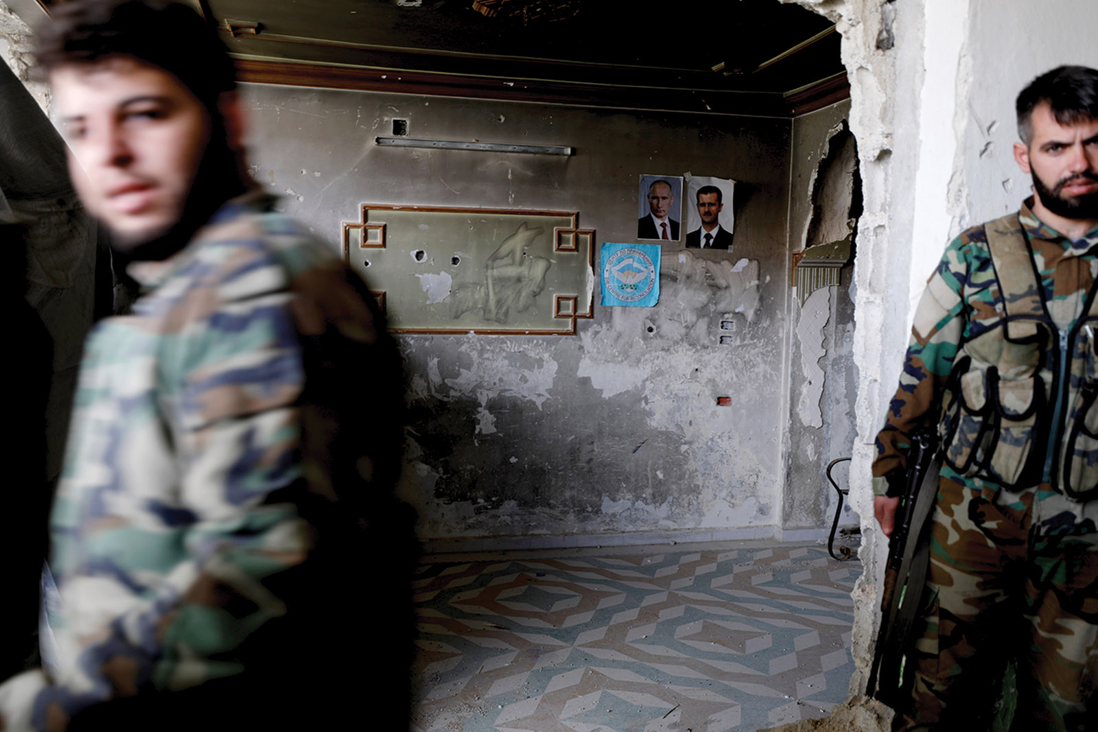 Syrian soldiers loyal to Bashar al-Assad, eastern Ghouta, February 2018