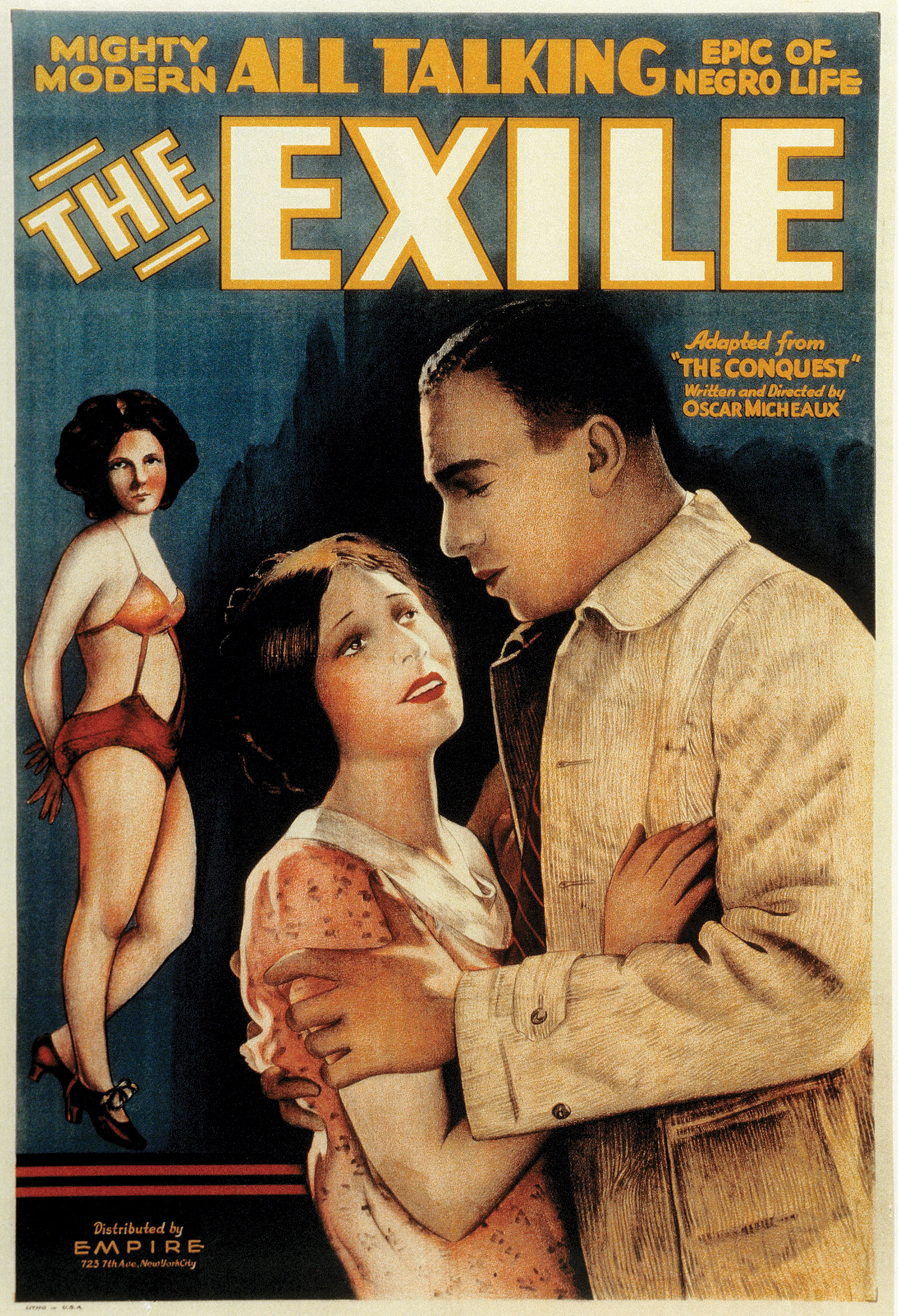 Poster for The Exile (1931), the first sound feature written and directed by Oscar Micheaux, based on his novel The Conquest: The Story of a Negro Pioneer