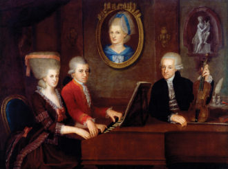 The Mozart family; painting by Johann Nepomuk della Croce, circa 1780–1781