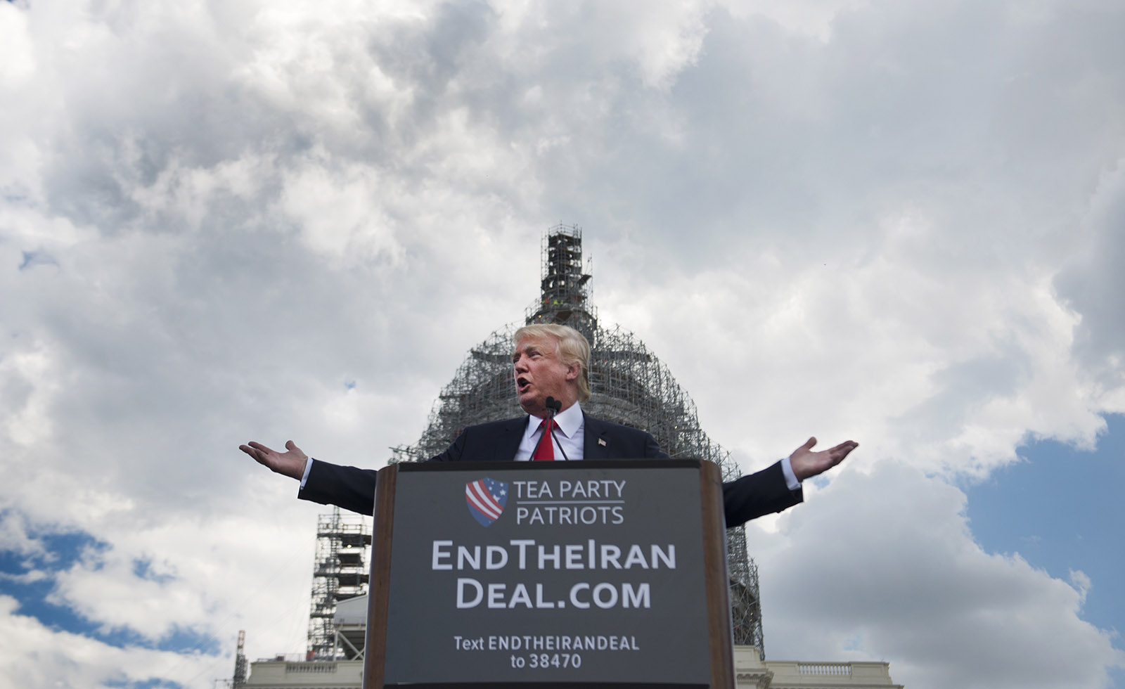 Donald Trump speaking at a protest in front of the Capitol in Washington, D.C., September 9, 2015