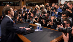 Facebook's Mark Zuckerberg appearing before a Senate hearing on Capitol Hill in Washington, D.C., April 10, 2018