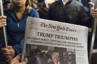 The morning after Donald Trump was elected US president, New York, November 9, 2016