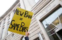A protest against Trump's second Muslim travel ban order in Washington, D.C., March 7, 2017