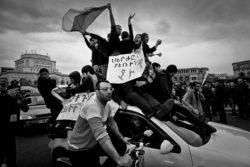 Demonstrators at Republic Square, Yerevan, Armenia, April 20, 2018