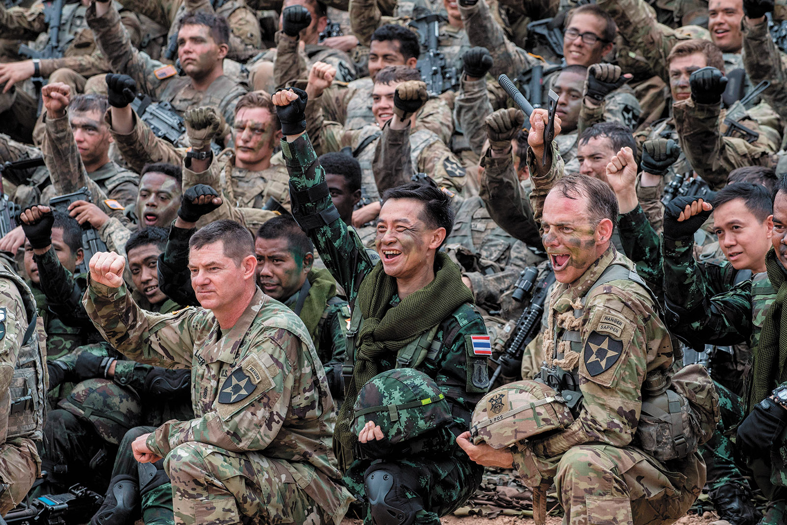 Thai and US soldiers at the end of a live-fire military display, Nakhon Ratchasima, Thailand, February 2017