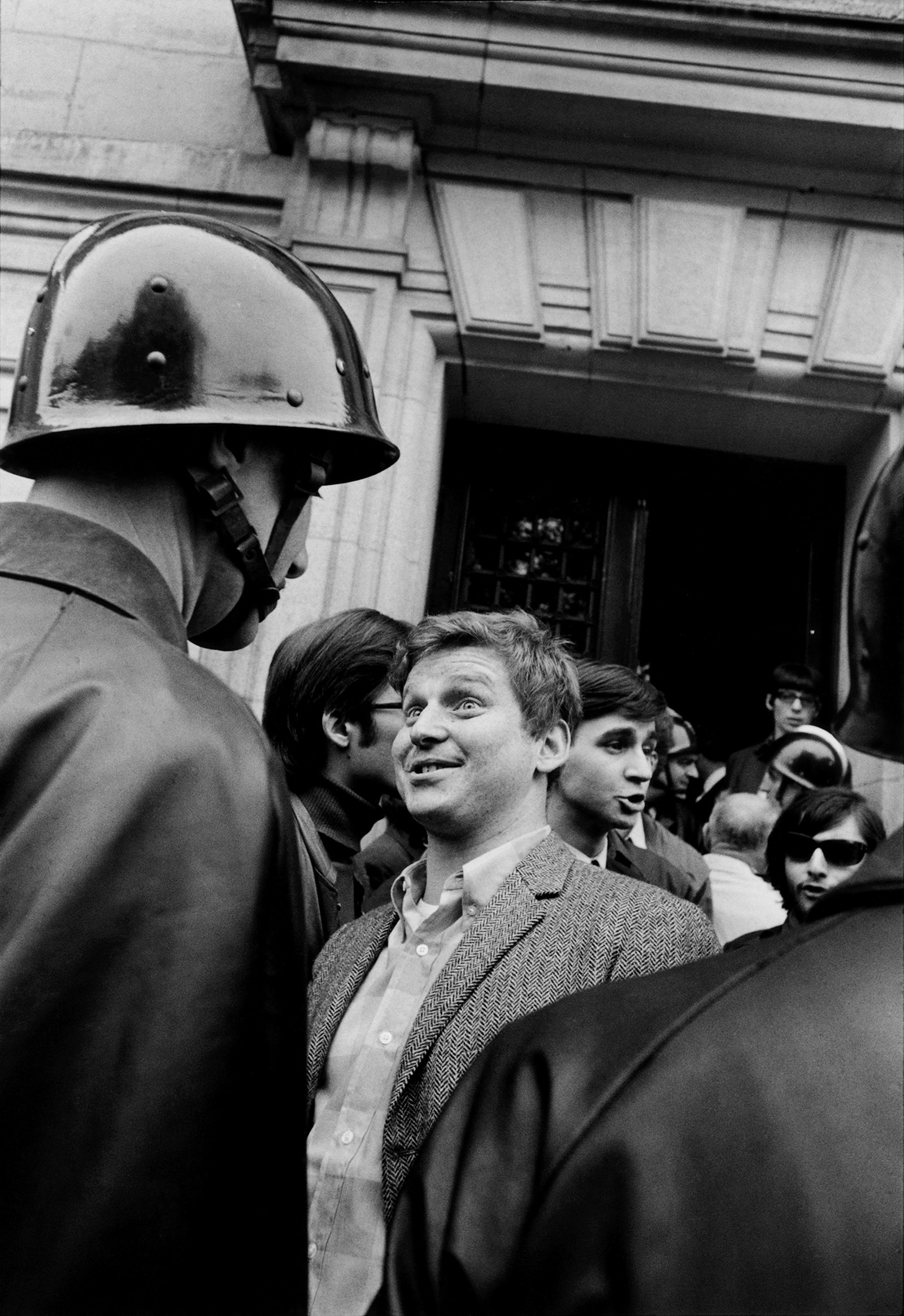 Daniel Cohn-Bendit, one of the leaders of the French student protests, in front of the Sorbonne, Paris, May 1968