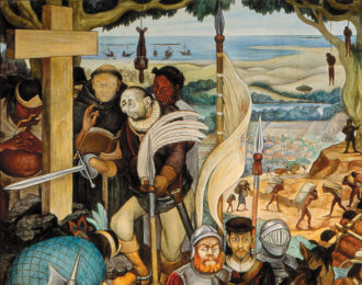Detail of Diego Rivera's Disembarkation of the Spanish at Veracruz>, showing Hernán Cortés as a hunchback, 1951