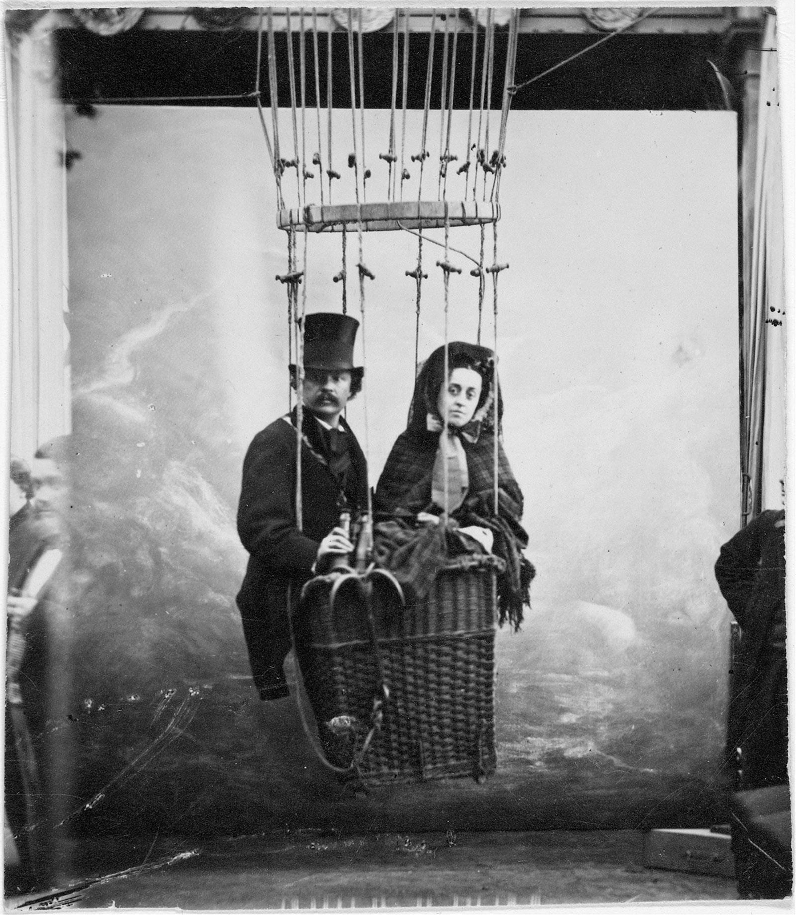 Félix Nadar with his wife, Ernestine, in a balloon, circa 1865