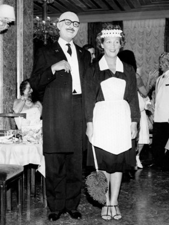 Count Guido Brandolini and Drue Heinz at a party hosted by Elsa Maxwell, Hotel Danieli, Venice, circa 1959