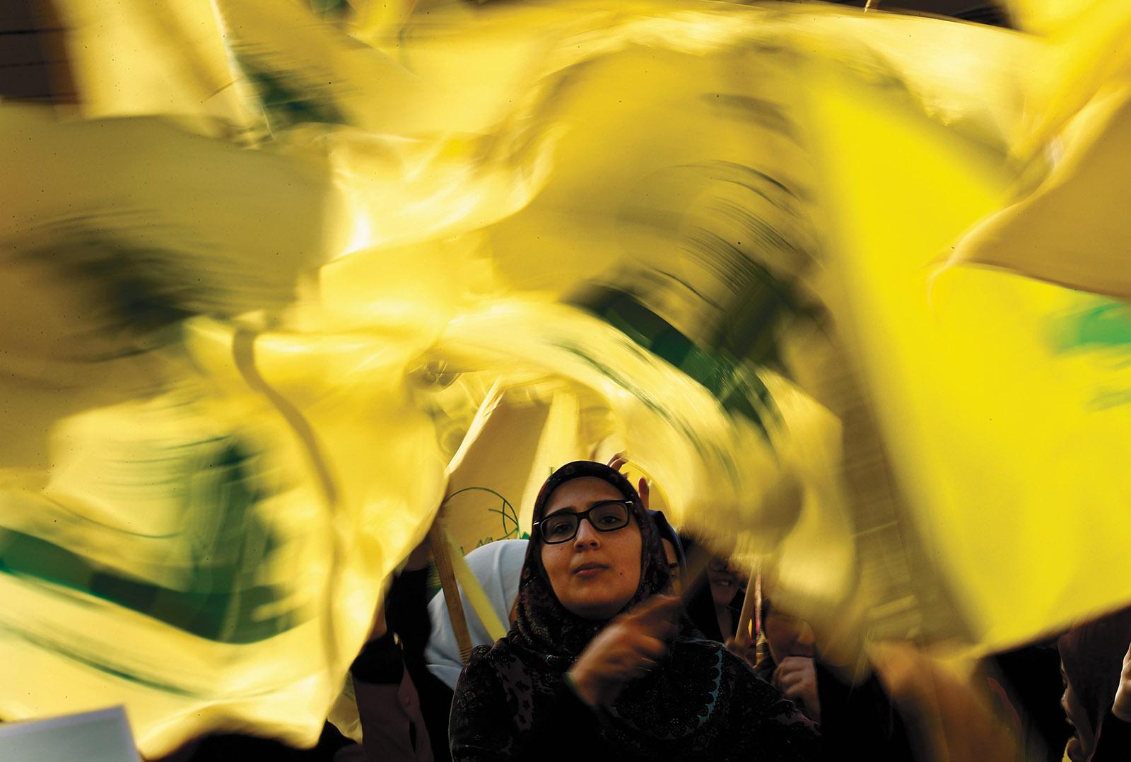 A Hezbollah supporter during a campaign speech by Hezbollah secretary-general Hassan Nasrallah near Beirut, Lebanon, April 2018