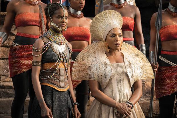 Letitia Wright as Shuri and Angela Bassett as Ramonda in <i>Black Panther</i>