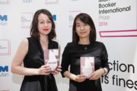 Han Kang (right), author of The Vegetarian, and her translator, Deborah Smith, joint winners of the Man Booker International Prize, London, May 2016