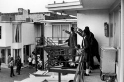 Associates of Dr. Martin Luther King Jr., the slain civil rights leader lying on the motel balcony, pointing in the direction of the assassin, Memphis, Tennessee, April 4, 1968
