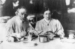 Leo Tolstoy with his wife, Sophia (Sonya), in the garden at Yasnaya Polyana, circa 1890