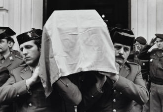 The funeral of three Guardia Civil police officers killed by the Basque separatist group ETA, Spain (date unknown, likely mid to late 1970s)