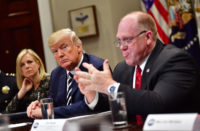 President Trump holding a White House roundtable on sanctuary cities with Homeland Security Secretary Kirstjen Nielsen and ICE's acting director, Thomas Homan, in Washington, D.C., March 20, 2018