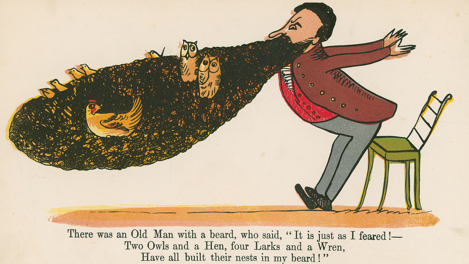 A colored lithograph from A Book of Nonsense, by Edward Lear, circa 1875