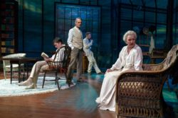 Matthew Beard as Edmund Tyrone, Jeremy Irons as James Tyrone, Rory Keenan as Jamie Tyrone, and Lesley Manville as Mary Tyrone in Eugene O'Neill's Long Day's Journey Into Night at the Brooklyn Academy of Music, 2018