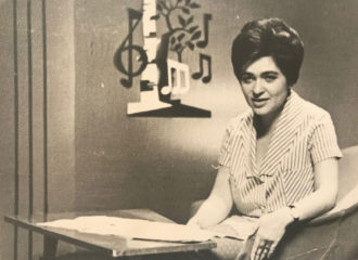 The author's mother, Lyudmila Alexandrova, in her television music show, 1964