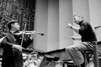 Herbert von Karajan (right) with the violinist Nathan Milstein during a rehearsal, Lucerne, 1957