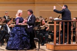 Camilla Nylund and Jonas Kaufmann performing Tristan and Isolde, with conductor Andris Nelsons and the Boston Symphony Orchestra, Carnegie Hall, New York City, April 12, 2018