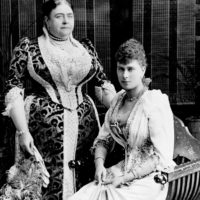 The future Queen Mary (right) with her mother, the Duchess of Teck, circa 1891
