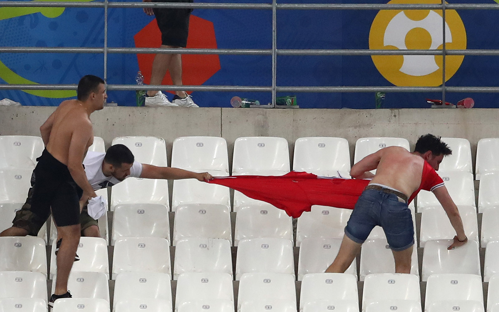Fans clashing at an England vs. Russia match when France hosted the UEFA Euro 2016 championship