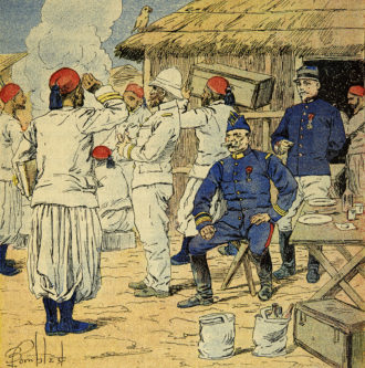 Book illustration by Louis Bombled showing the Algerian regiment's quarters during the French campaign in Madagascar, 1895