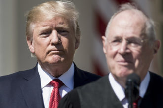 President Donald Trump listening as Supreme Court Justice Anthony Kennedy spoke in the Rose Garden of the White House, Washington, D.C., April 10, 2017