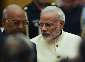Indian Prime Minister Narendra Modi attending the swearing-in ceremony for the new chief justice of the Supreme Court, Dipak Misra, New Delhi, August 28, 2017
