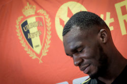 Belgian player Christian Benteke at a press conference before the final selection for the World Cup squad, Tubize, Belgium, May 24, 2018