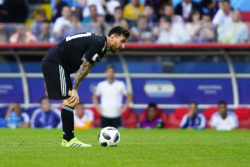 Lionel Messi, Argentina's captain, preparing for a penalty kick against Iceland at Spartak Stadium in Moscow, Russia, June 16, 2018