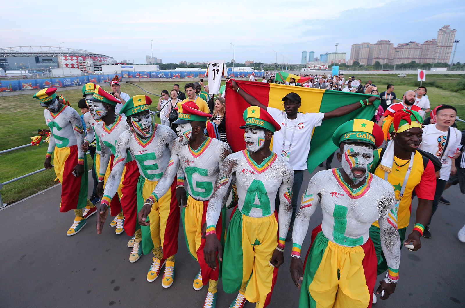 Senegalese fans parading before their team's match against Poland in Moscow, Russia, June 19, 2018