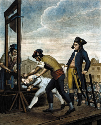 The execution of Maximilien Robespierre in Paris on July 28, 1794
