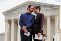 David Mullins and Charlie Craig, the couple who filed a complaint after a Colorado baker refused to sell them a wedding cake, at the Supreme Court, Washington, D.C., December 2017