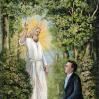 A lithograph depicting the angel Moroni delivering the golden plates of the Book of Mormon to Joseph Smith in western New York, 1827