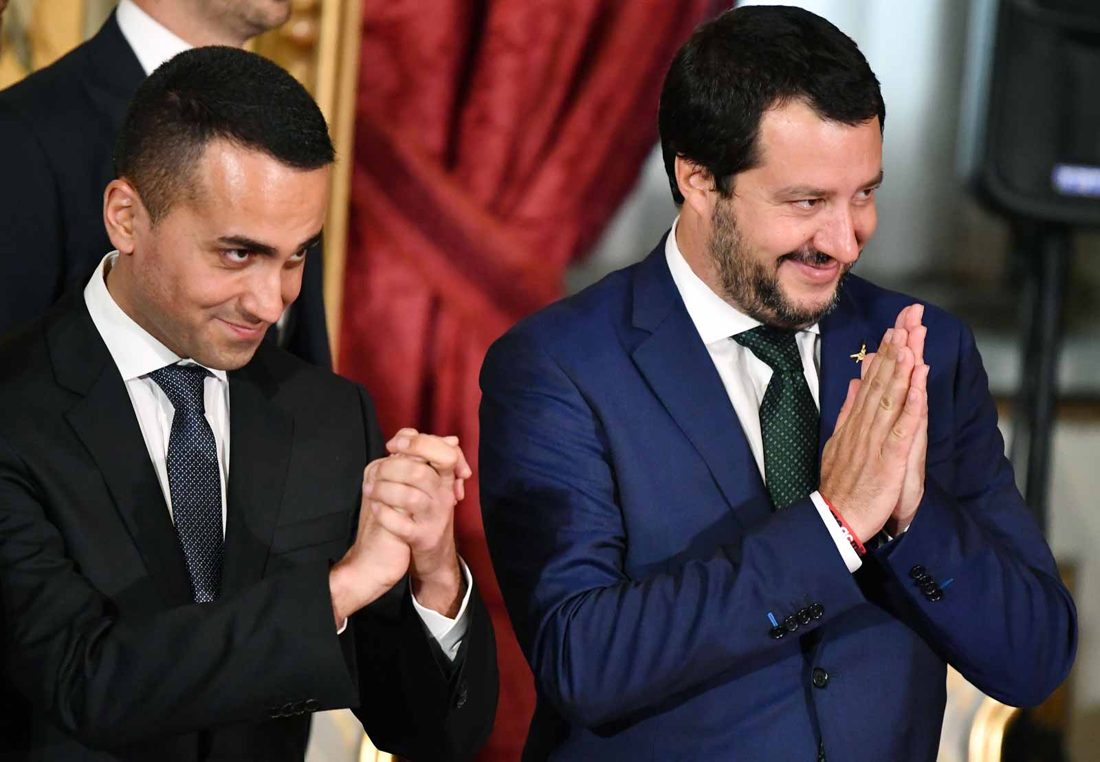 Italy's Deputy Prime Minister Luigi Di Maio, of the left-wing Five Star Movement, and Deputy Prime Minister Matteo Salvini, of the right-wing Northern League, during the swearing-in ceremony of the new government led by Prime Minister Giuseppe Conte, Quirinale Palace, Rome, June 1, 2018
